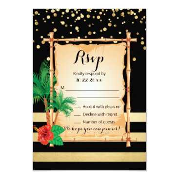 Beach Themed RSVP Tropical Beach Palms Gold Black Wedding Card