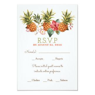 """rsvp tropical del boda de playa de la piña invitación 3.5"""" x 5"""""""