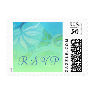 RSVP Turquoise and Green Floral Postage