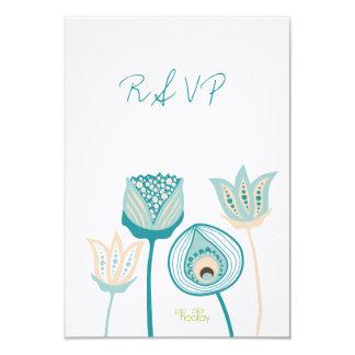 RSVP Turquoise Aqua Floral Blooms Wedding Card
