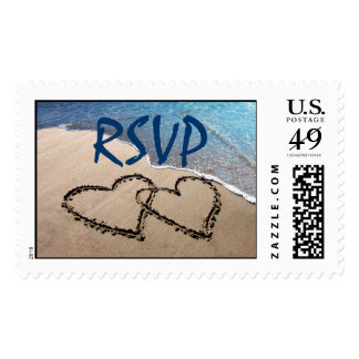 RSVP Two Hearts In The Sand Postage Stamps