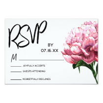 RSVP Typography, Pink Watercolor Peony Flower Card