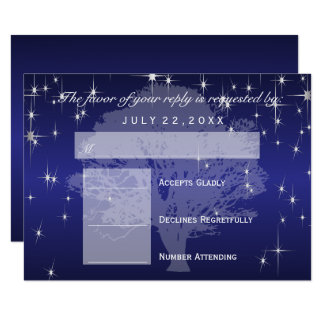 RSVP  Under the Stars in Metallic Dark Blue - RSVP Card