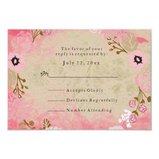 RSVP Vintage Coral Garden Wreath Wedding Card