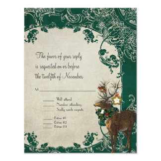 RSVP Vintage Elegance Christmas Toile Damask Personalized Announcement