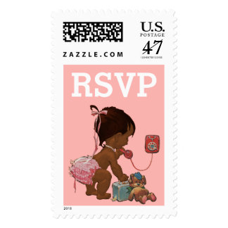 RSVP Vintage Ethnic Baby on Phone Baby Shower Postage