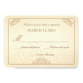 """RSVP Vintage Ivory Gold Formal Wedding 3.5"""" X 5"""" Invitation Card"""