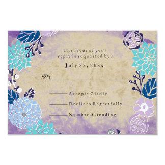 RSVP Vintage Purple & Blue Garden Wreath Wedding Card