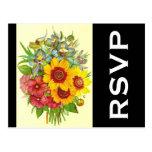 [ Thumbnail: RSVP + Vintage Style Flowers Depiction Postcard ]