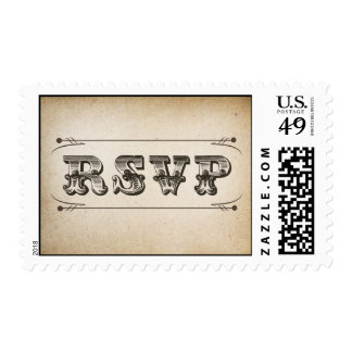 RSVP vintage typography design postage stamps