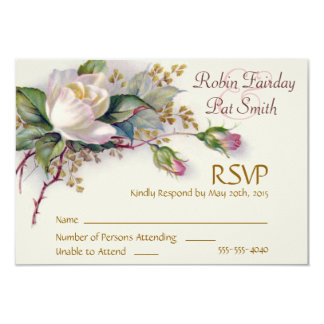 RSVP - Vintage White & Pink Watercolor Roses 3.5x5 Paper Invitation Card