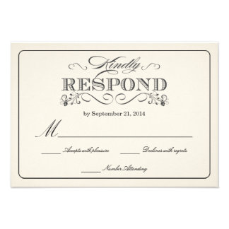 RSVP Vintage White Wedding Reply Cards