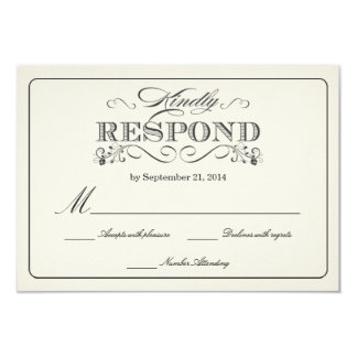 RSVP Vintage White Wedding Reply Cards Invitation