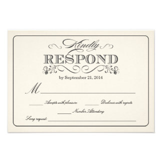 RSVP Vintage White - with Song Request Custom Invites
