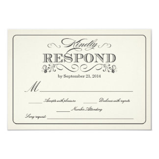 "RSVP Vintage White - with Song Request 3.5"" X 5"" Invitation Card"