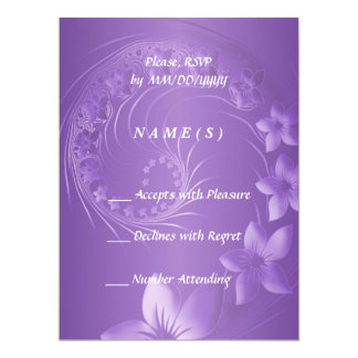 RSVP - Violet Abstract Flowers 6.5x8.75 Paper Invitation Card