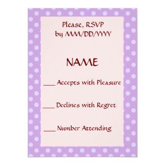 RSVP - Violet Polka Dots, Pink Background Card
