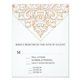 RSVP w Menu Choice Elegant Formal Modern Lace 4.25x5.5 Paper Invitation Card