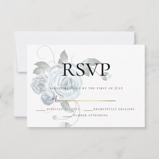 RSVP  | Watercolor Dusty Blue Floral Wedding