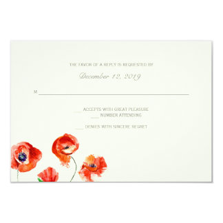 RSVP | Watercolor Flowers -large 3.5x5 Paper Invitation Card