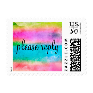 RSVP Watercolor Streaks Pink Turquoise Lime Postage