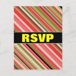 "[ Thumbnail: ""RSVP"" + Watermelon-Inspired Stripes Postcard ]"
