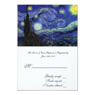 RSVP, wedding acceptance card, Starry Night Card