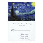 "RSVP, wedding acceptance card, Starry Night 3.5"" X 5"" Invitation Card"