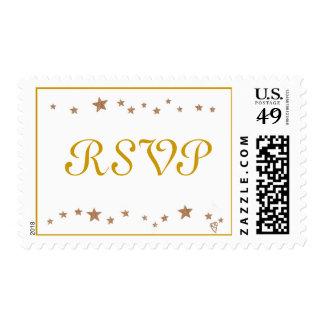 RSVP Wedding, Anniversary gold stars border stamps