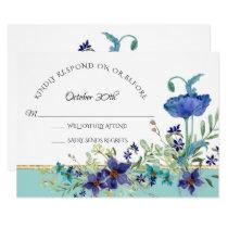 RSVP Wedding Aqua Blue w Poppy Watercolor Floral Invitation