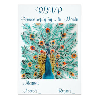 RSVP Wedding Beautiful Peacock Card