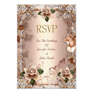 RSVP Wedding Beige Cream Gold Rose Set 3.5x5 Paper Invitation Card