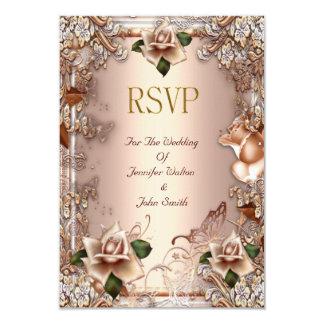 RSVP Wedding Beige Cream Gold Rose Set Card