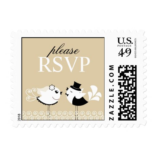 RSVP Wedding Birds Small Postages Postage Stamps