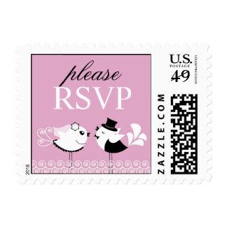 RSVP Wedding Birds Small Postages Stamp