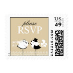 RSVP Wedding Birds Small Postages Stamp