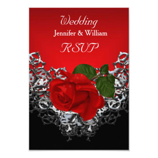 RSVP Wedding Black White Silver Deep RED Rose Card