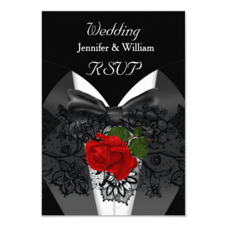 RSVP Wedding Black White Tuxedo Deep RED Rose Card
