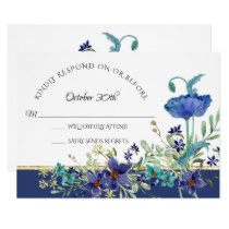 RSVP Wedding Blue Poppy Foliage Watercolor Floral Invitation