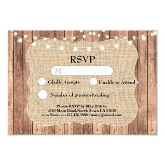 RSVP Wedding Burlap Wood Light Cards Invites