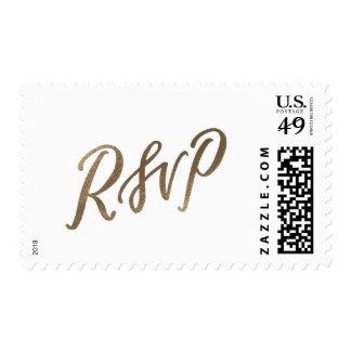 """""""RSVP"""" Wedding Calligraphy Stamp // Gold foil"""