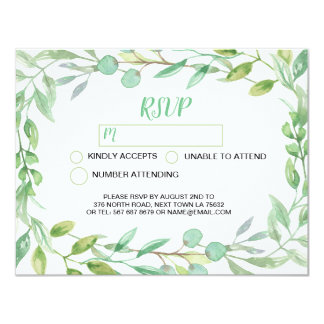 RSVP Wedding Card Leaves Nature Watercolor Painted