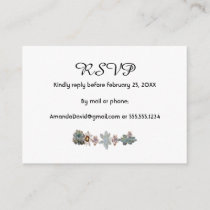 RSVP wedding card succulent flowers on white
