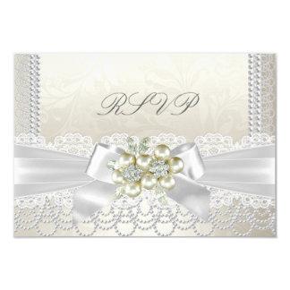 RSVP Wedding Cream Pearl Lace Damask Diamond Card