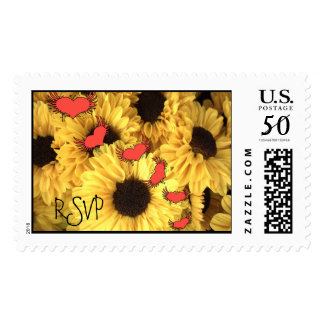 RSVP Wedding Daisies and Grunged Heart Postage