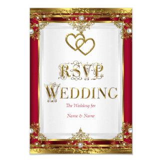 RSVP Wedding Elegant Red Gold White Golden Card