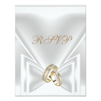 RSVP Wedding Elegant White Gold Rings Card