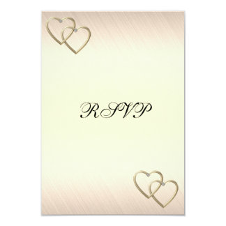 RSVP Wedding Engagement Ivory Gold Hearts Card