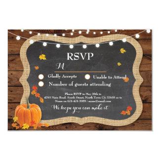 RSVP Wedding Fall Wood Response Cards Pumpkin