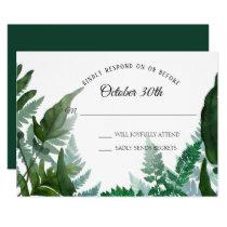 RSVP Wedding Ferns Forest Foliage Leaf Leaves Invitation